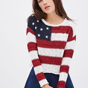 AMERICAN FLAG KNIT CROPPED PULLOVER SWEATER!